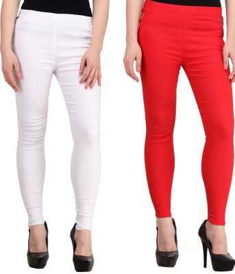 Magrace Women's White, Red Jeggings