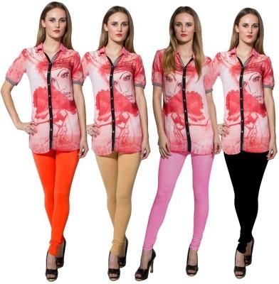 Both11 Women's Orange, Beige, Pink, Black Leggings