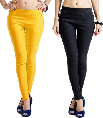 Magrace Women's Yellow, Black Jeggings