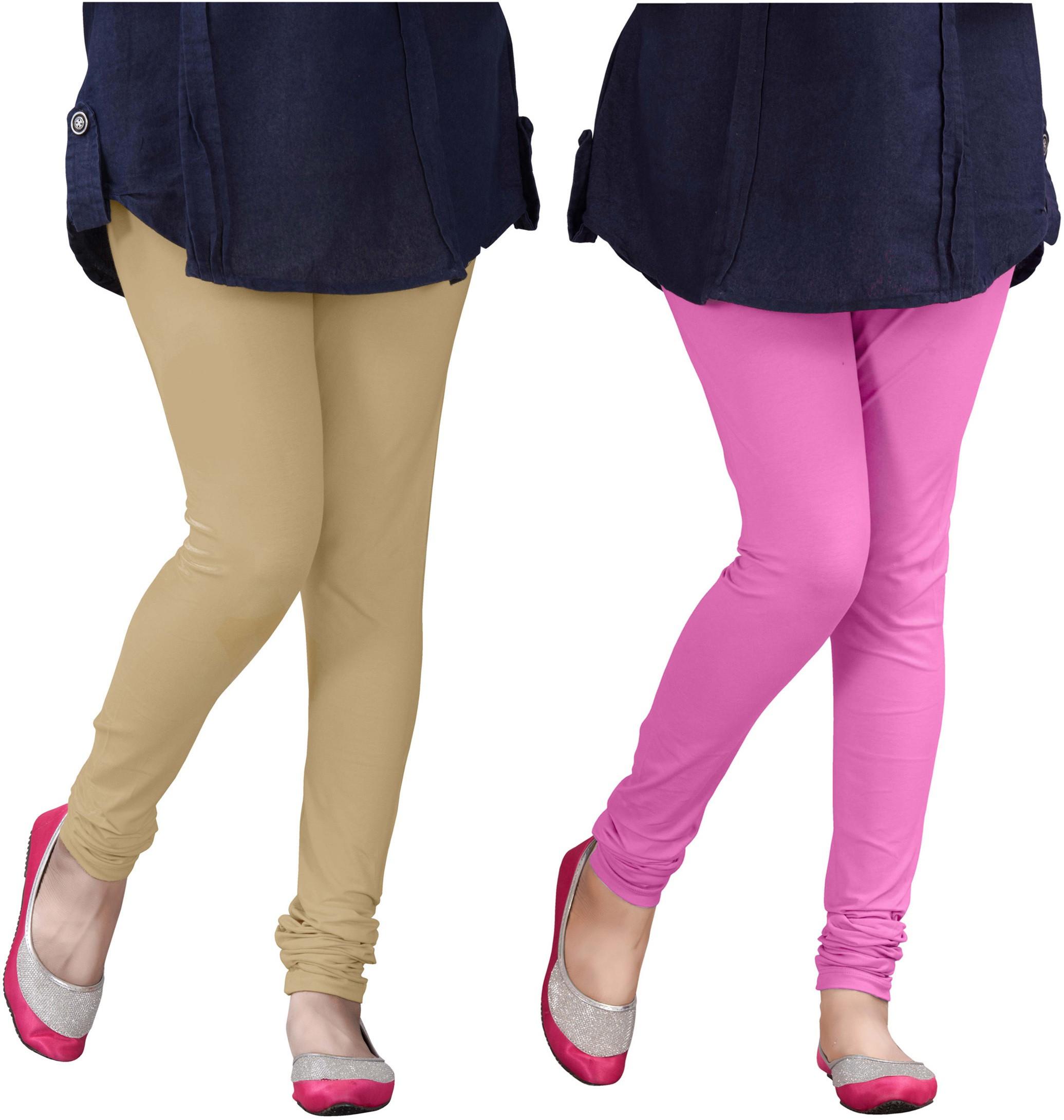 Plus Creation Womens Beige, Pink Leggings(Pack of 2)
