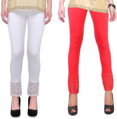 RobinRomeo Women's Orange, White Leggings