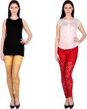 Simrit Women's Beige, Red Leggings (Pack...