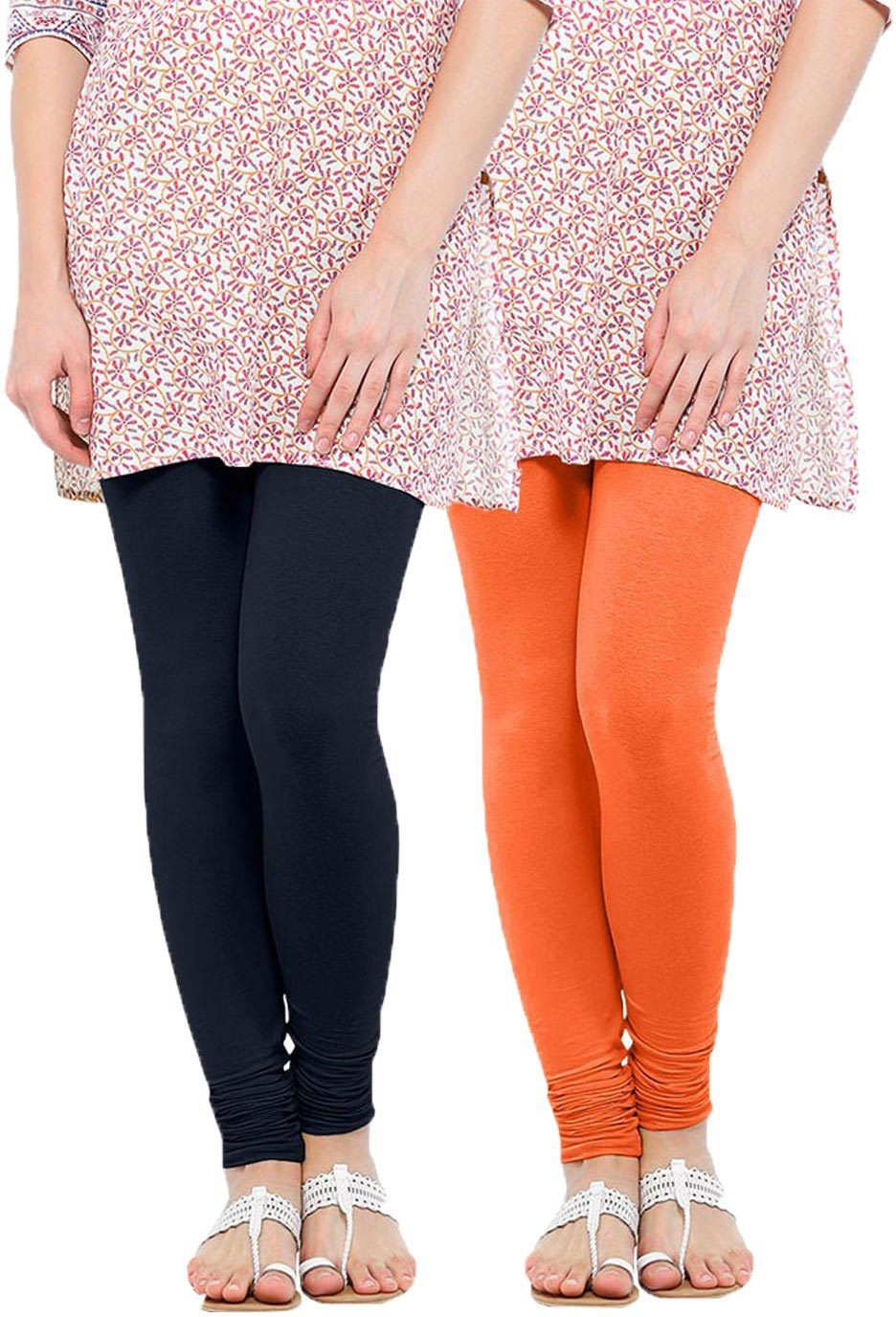 Linking Threads Womens Dark Blue, Orange Leggings(Pack of 2)