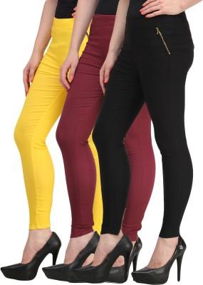 Jainish Women's Black, Yellow, Maroon Jeggings