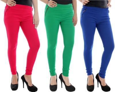 Paulzi Women's Pink, Green, Blue Jeggings