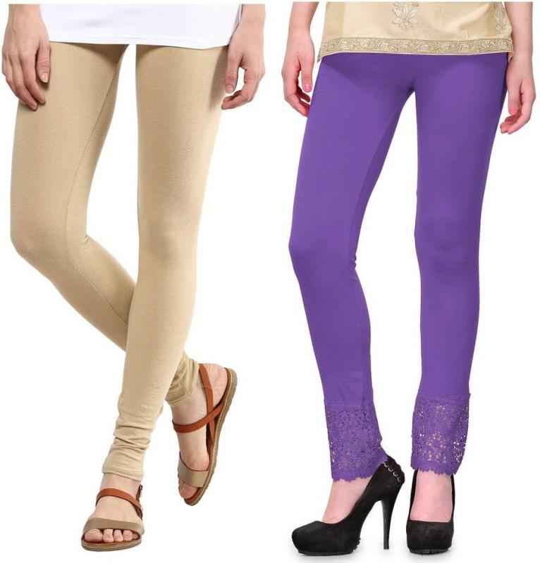 Legemat Women's Beige, Purple Leggings(Pack of 2)