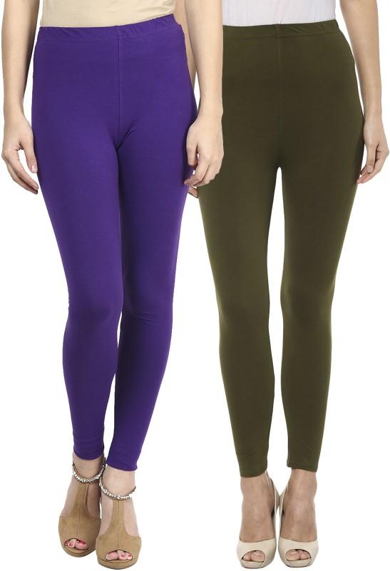 Sakhi Sang Women's Purple, Green Leggings(Pack of 2)