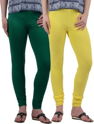 American-Elm Women's Green, Yellow Leggings