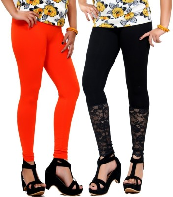 By The Way Women's Orange, Black Leggings