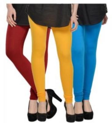 JUST CLIKK Women's Red, Yellow, Light Blue Leggings