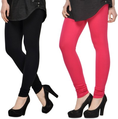 SareeGalaxy Women's Black, Pink Leggings