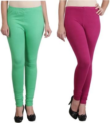 Ahhaaaa Women's Light Green, Maroon Leggings