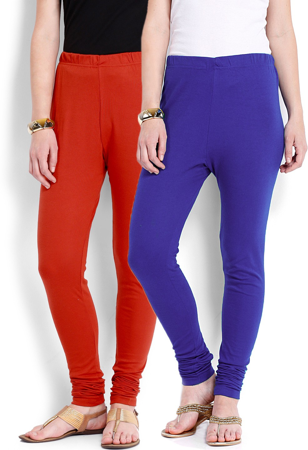 Ten on Ten Womens Red, Blue Leggings(Pack of 2)