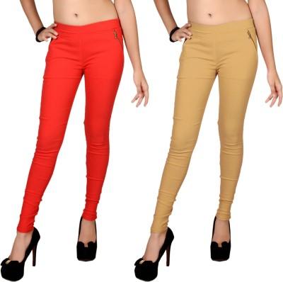 Zea-Al Women's Red, Beige Jeggings