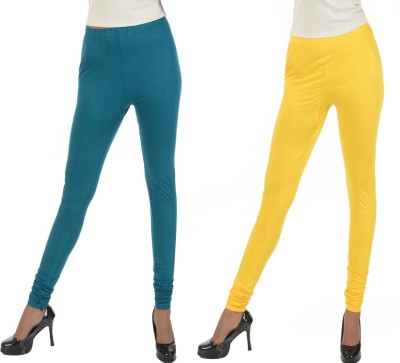 Crezyonline Women's Dark Green, Yellow Leggings