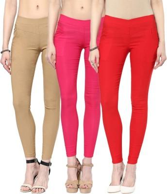 Zea-Al Women's Beige, Pink, Red Jeggings