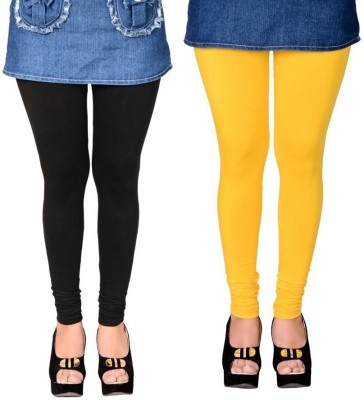 divine creations Women,s Black, Yellow Leggings