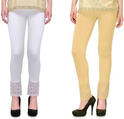 RobinRomeo Women's Beige, White Leggings