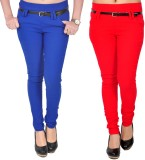 Zrestha Women's Red, Blue Jeggings (Pack...