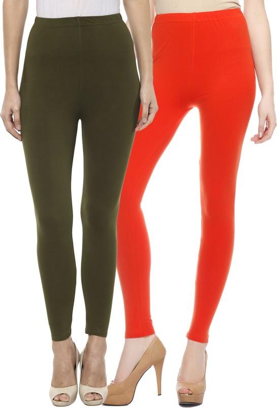 Sakhi Sang Women's Green, Orange Leggings(Pack of 2)