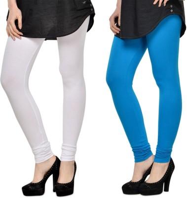 SareeGalaxy Women's White, Dark Blue Leggings