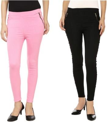 Emblazon Women's Pink, Black Jeggings