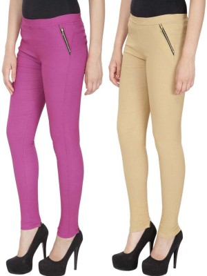 RZLECORT Girls Pink, Brown Jeggings(Pack of 2)