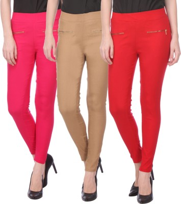 Flying Duck Women's Beige, Pink Jeggings