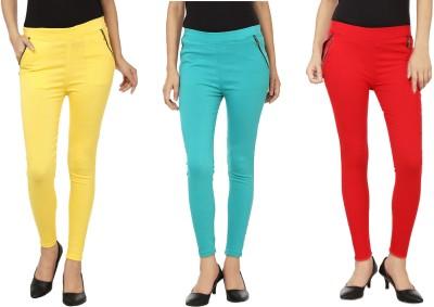 Emblazon Women's Yellow, Red, Blue Jeggings