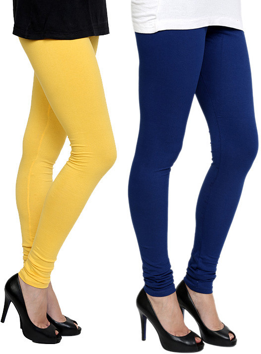 Pannkh Womens Yellow, Blue Leggings(Pack of 2)