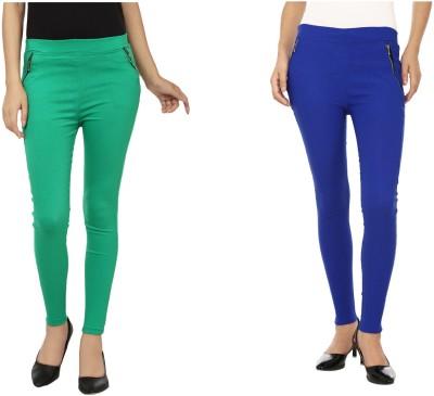 Emblazon Women's Green, Blue Jeggings