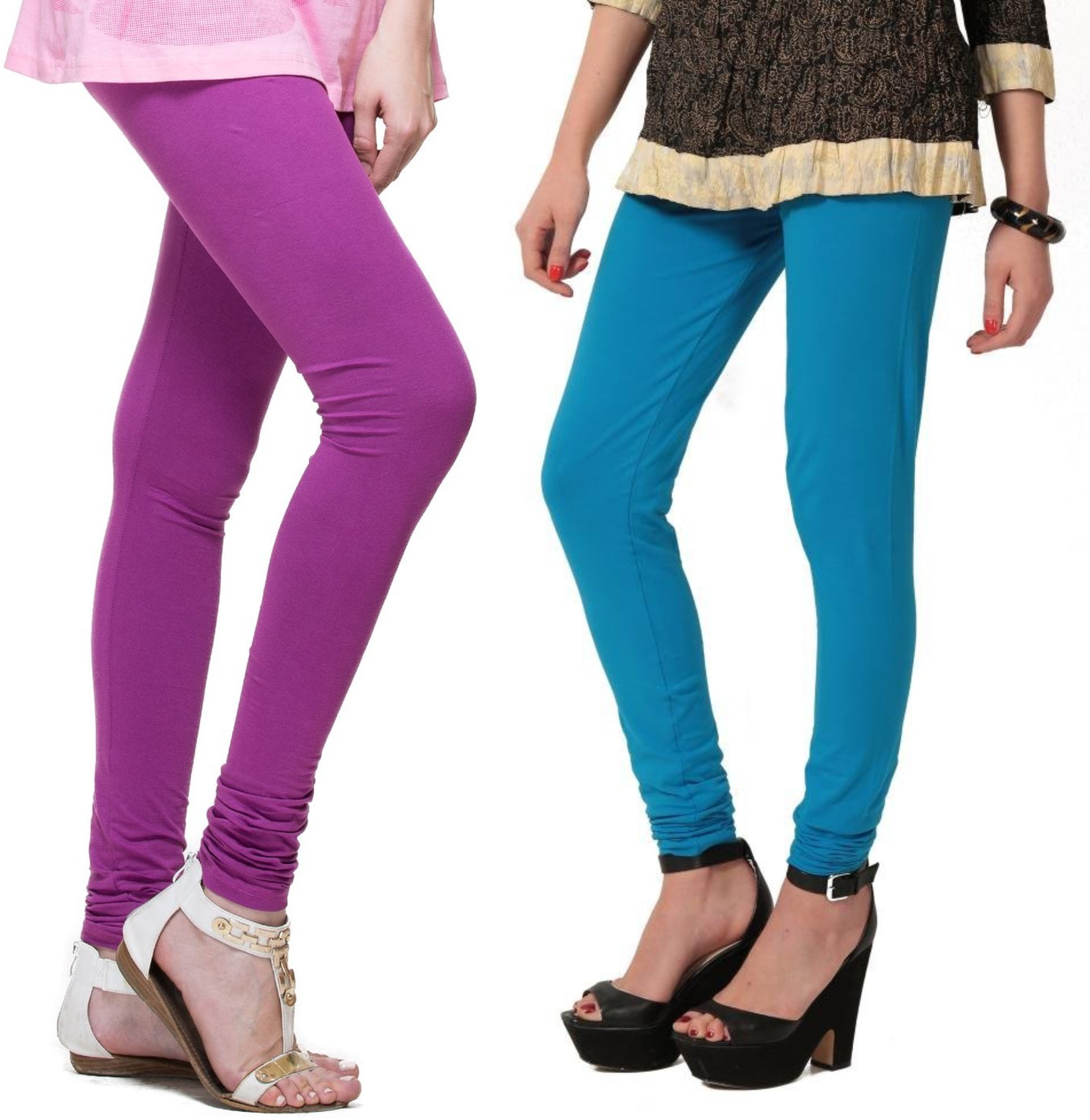 Angel Soft Womens Purple, Light Blue Leggings(Pack of 2)