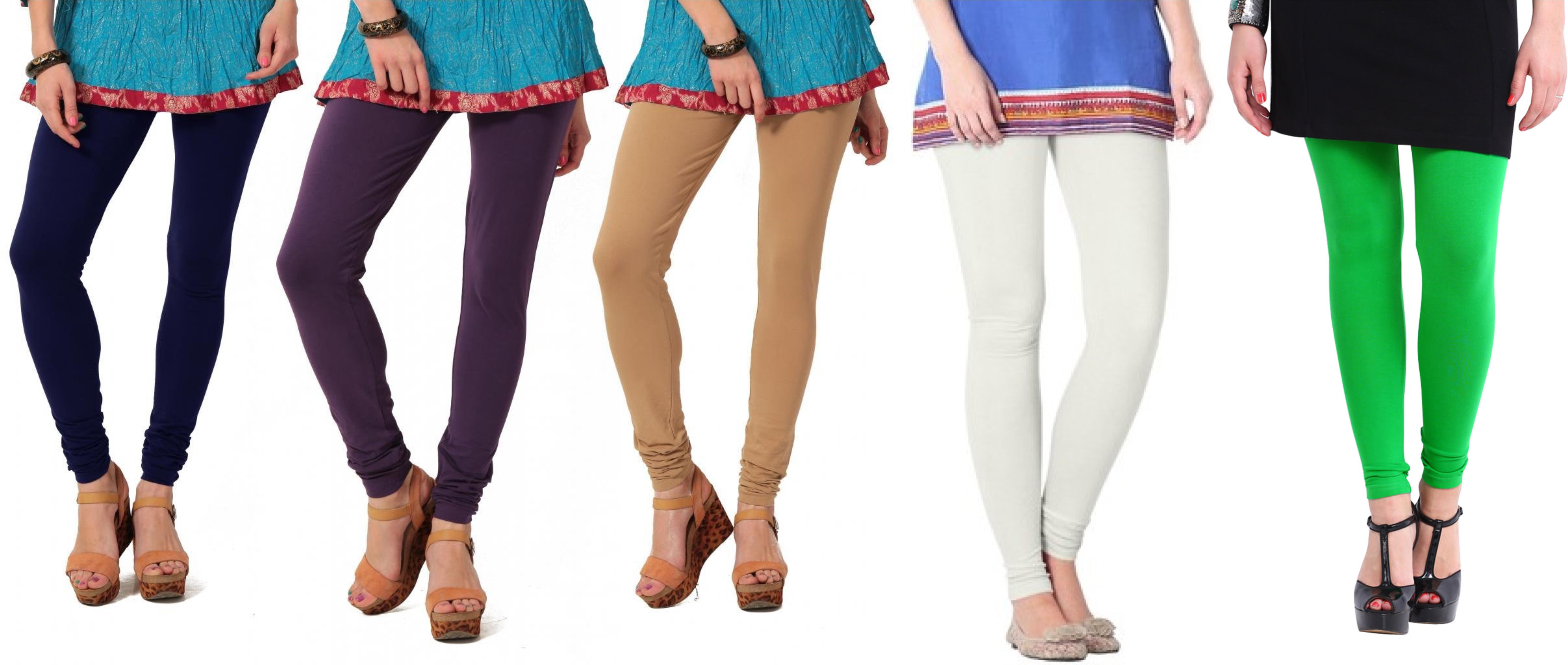 Angel Soft Womens Blue, Purple, Beige, White, Green Leggings(Pack of 5)