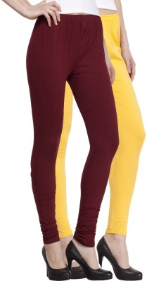 Venustas Women's Yellow, Maroon Leggings