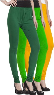 VENUSTAS Women's Yellow, Dark Green, Light Green Leggings