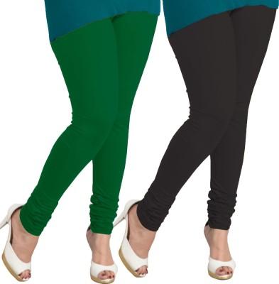 I-Diva Women's Dark Green, Black Leggings