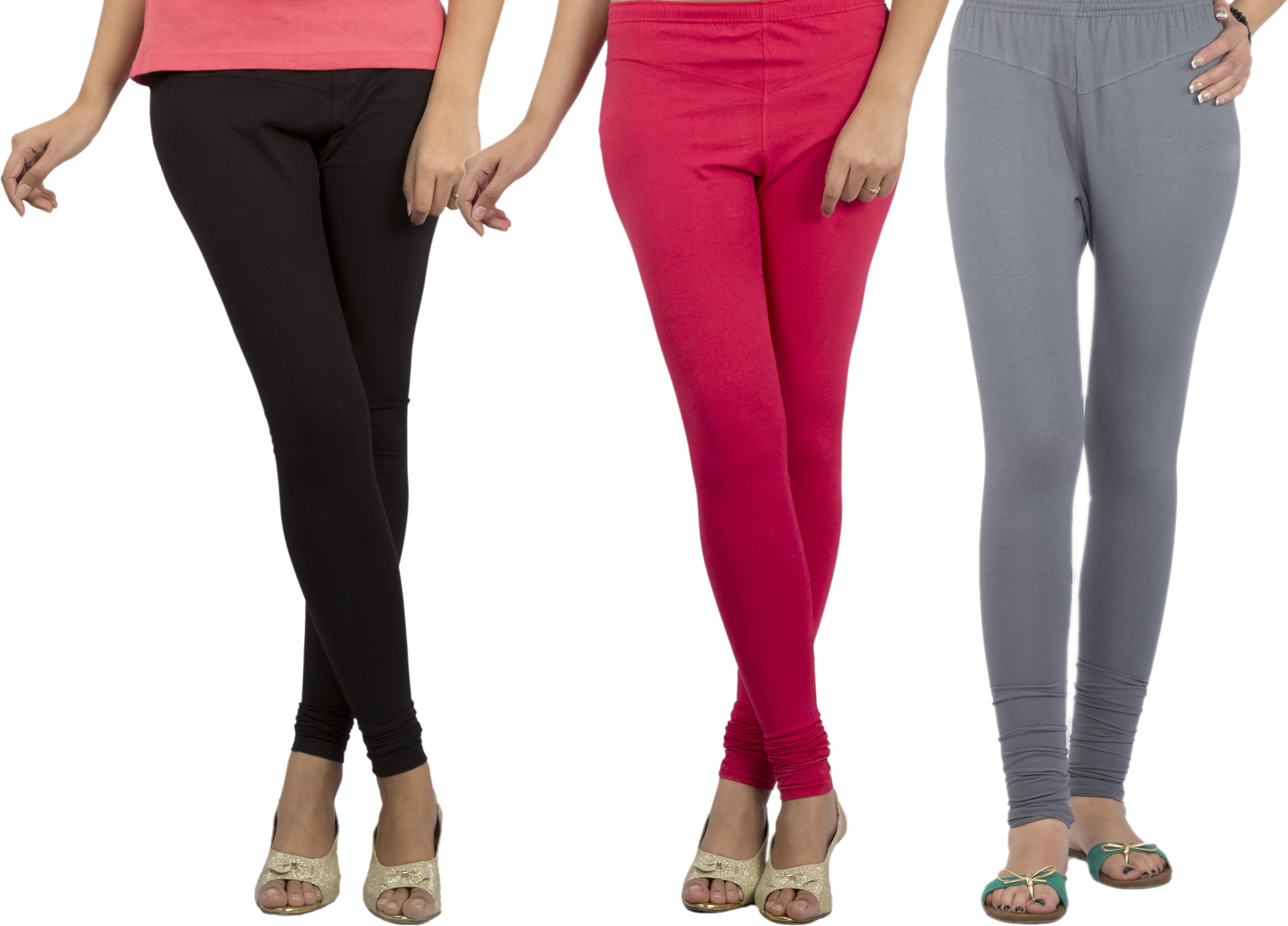 Jublee Womens Pink, Grey, Black Leggings(Pack of 3)