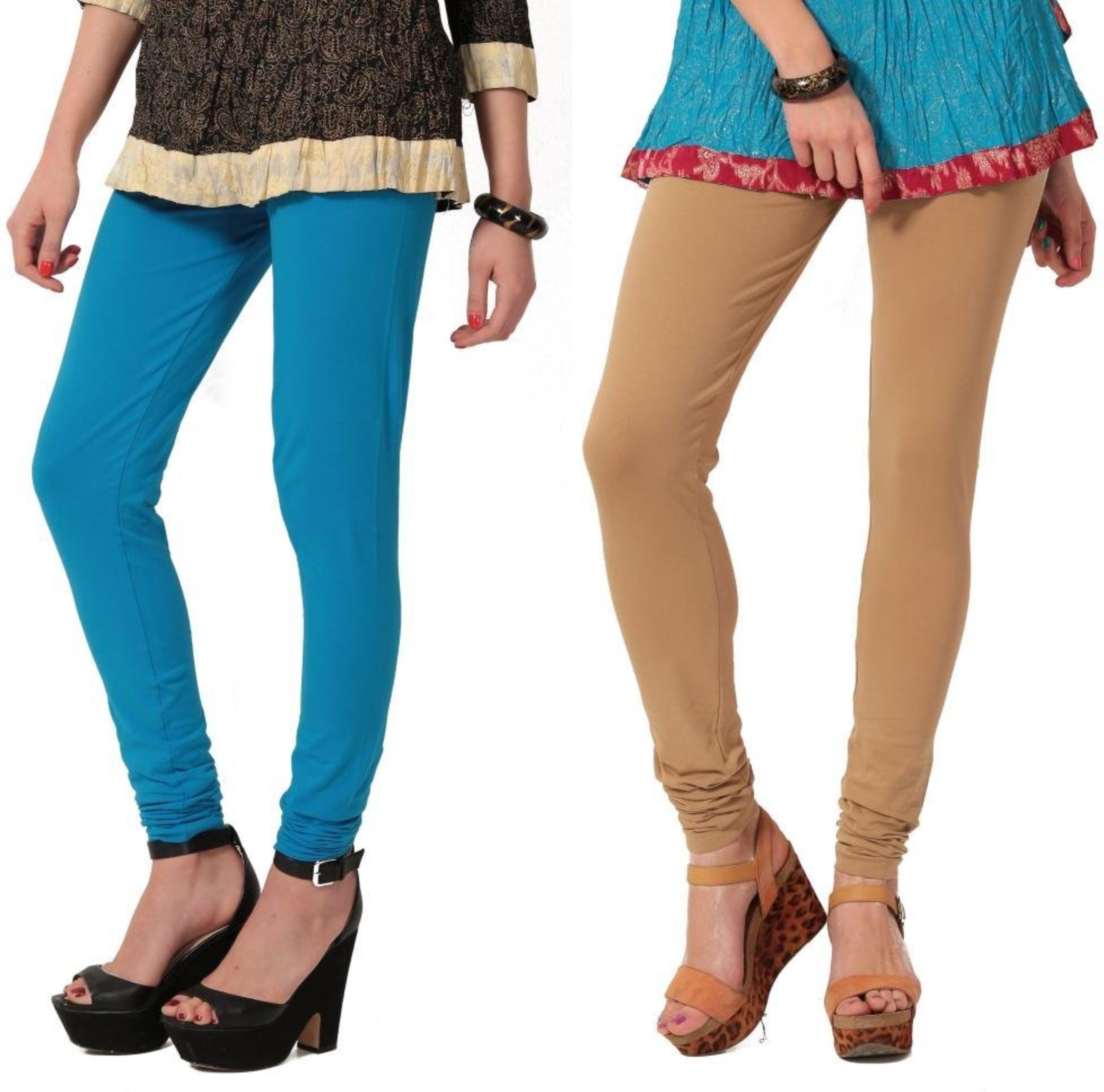 Angel Soft Womens Light Blue, Beige Leggings(Pack of 2)