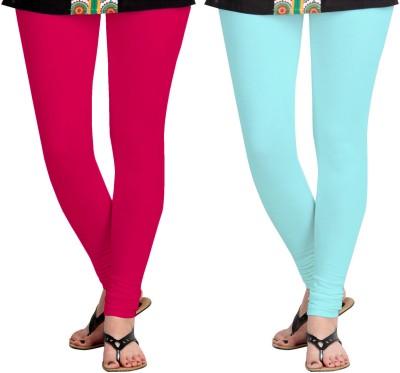 Aannie Women's Pink, Light Blue Leggings(Pack of 2) at flipkart