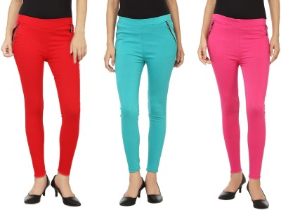 Emblazon Women's Red, Pink, Blue Jeggings