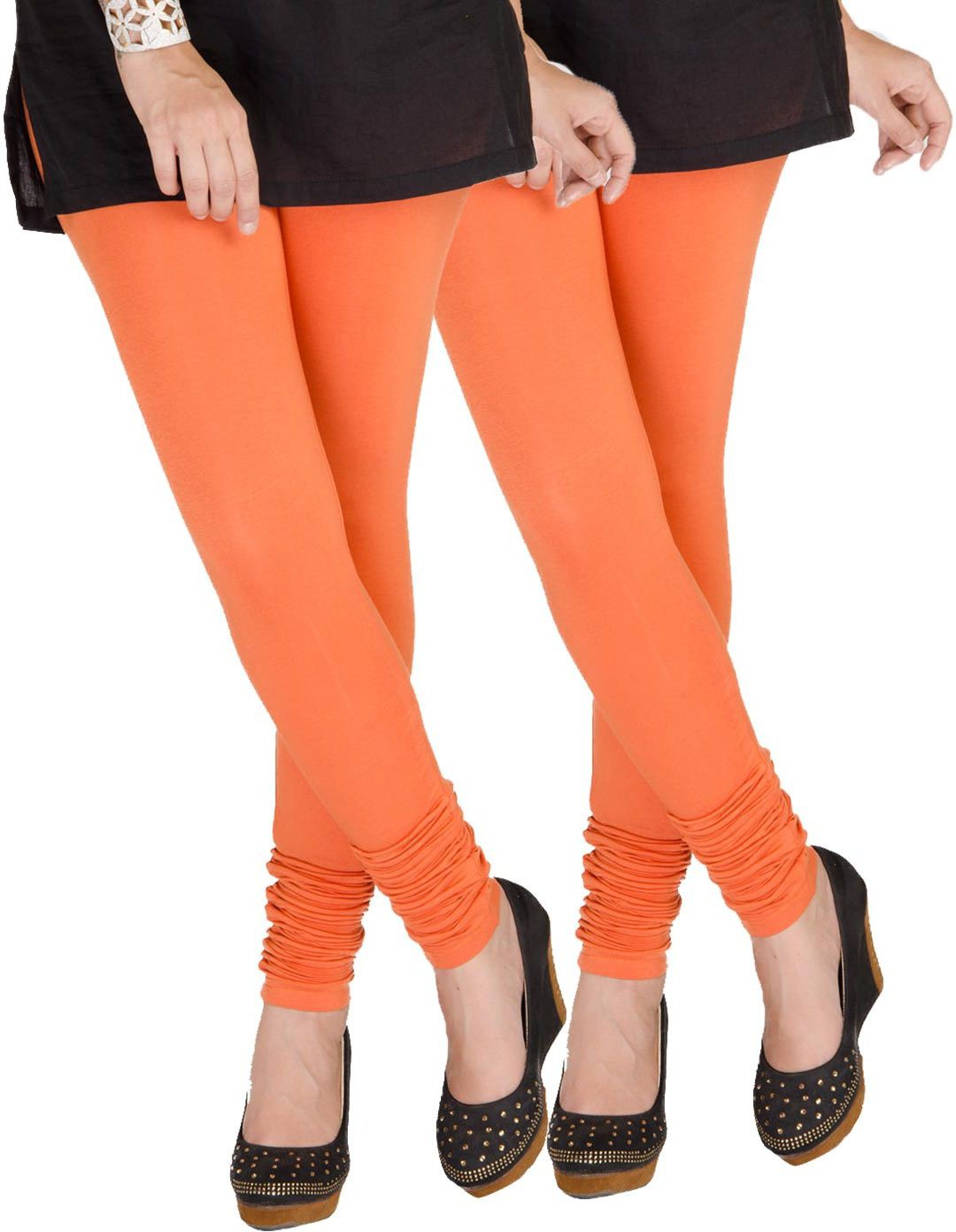 Medoo Womens Orange Leggings(Pack of 2)