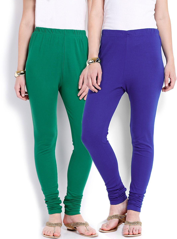 Ten on Ten Womens Green, Blue Leggings(Pack of 2)