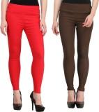 Jainish Women's Red, Brown Jeggings (Pac...