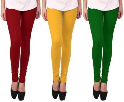 Escocer Women's Green, Maroon, Beige Leggings