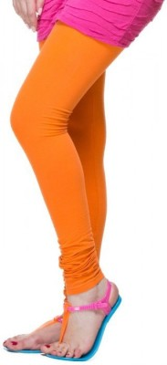Cotton Lycra Women's Orange Leggings