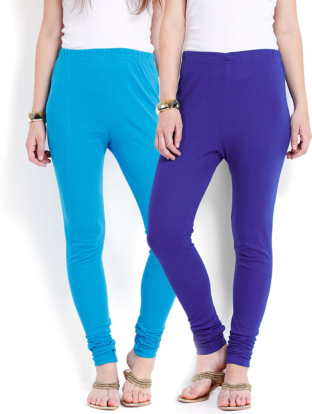 Ten on Ten Womens Light Blue, Blue Leggings(Pack of 2)