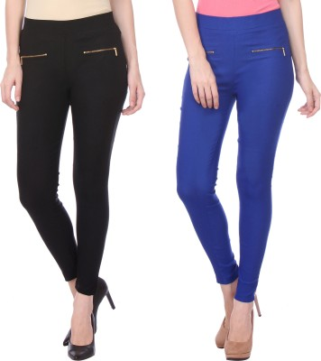 Flying Duck Women's Black, Blue Jeggings