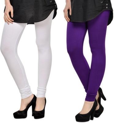 SareeGalaxy Women's White, Purple Leggings