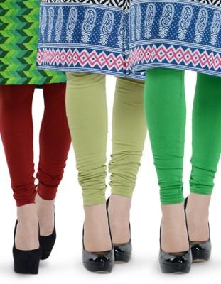 Tjaggies Women's Dark Green, Light Green, Maroon Leggings