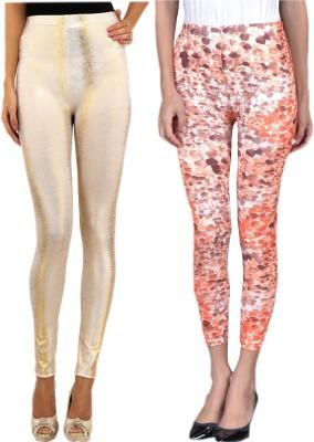 indian street fashion Women's Gold, Orange Leggings